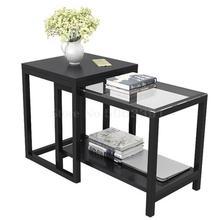 Простой гостиной маленький чайный столик боковой угловой столик мини угловой шкаф диван шкаф боковой шкаф стеклянный боковой уголок Несколько кроватей