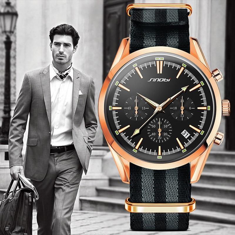 SINOBI Golden Sports Multifunción Cuarzo Relojes de pulsera Marca de - Relojes para hombres