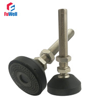 2pcs M16x100mm Adjustable Foot Cups Reinforced Nylon Base 80mm Diameter Articulated Feet M16 Thread Leveling Foot