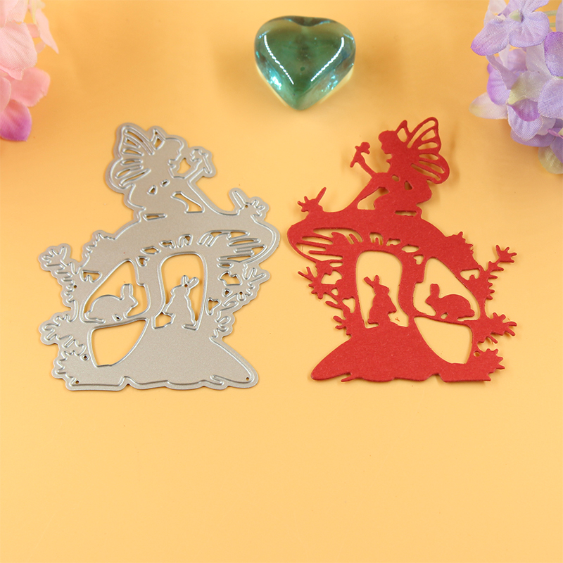 YLCD082 Fairy Bird Rabbit Metal Cutting Dees Scrapbooking Stencils DIY Cards Album Decoration Embossing Folder Die Cut Cut Templates