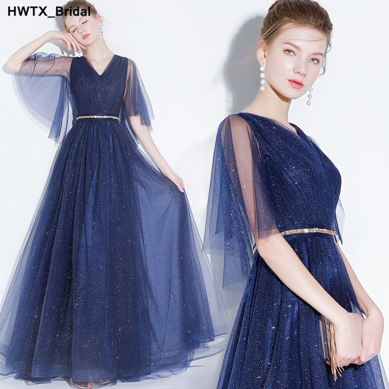 Gorgeous Royal Blue Long   Bridesmaid     Dresses   2018 Sexy V-Neck Formal   Dress   For Wedding Party Ruffled Tulle Wedding Guest Gowns