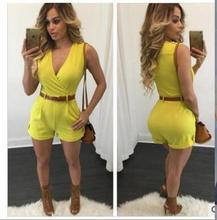 Sexy fashion women loose Slim casual jumpsuit shorts with belt explosion models NEW new