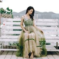Korean version of the summer women's girl wind seaside mesh stitching dress color matching sling V neck tulle women's dress