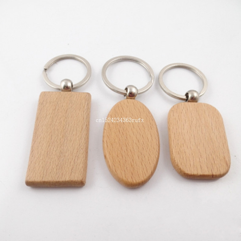 100 pcs Blank Wooden DIY Keyring For Promotion Birthday Wedding Gift Party Favor Gift New Fashion