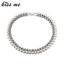 Благородные женские ювелирные изделия KISS ME, новая мода, двойной слой, искусственный жемчуг, колье, ожерелье, с фабрики