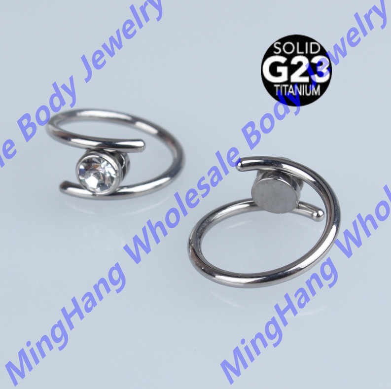 G23 Titanium Twist Barbell Crystal Navel Ring Ear Tragus Cartilage Piercing Nose Eyebrow Piercing Jewelry
