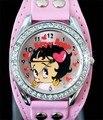 Frete Grátis! 1 pc Nova Bonita Moda Branca Sexy Betty Boop Das Mulheres Senhoras Meninas relógio de Pulso de Quartzo Relógios
