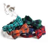 Plaid coloré petits chiens colliers coton rayé Bowknot collier bouledogue Chihuahua noeud papillon chiot chats fête Bandana collier