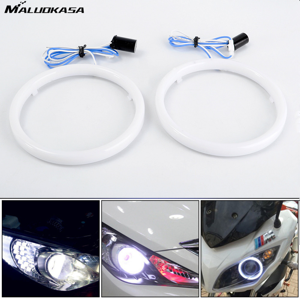 MALUOKASA 2X Auto Headlight Rings Light Guide Angel Eye Car Fog Light Daytime Runing Lights 60 70 80 90 100 110mm 12V Motorcycle датчик lifan auto lifan 2
