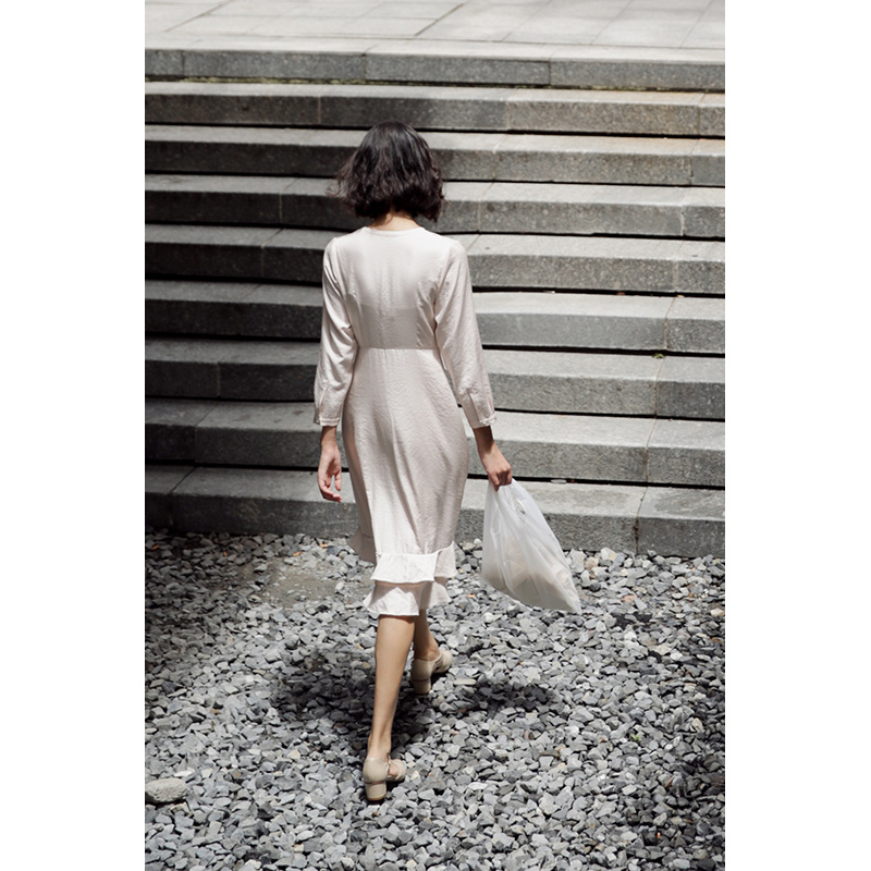 Taille Mince Lynette S Originale Haute Chinoiserie Conception Apricot Robes Femmes Elegant Printemps Automne I0xfqr8w0
