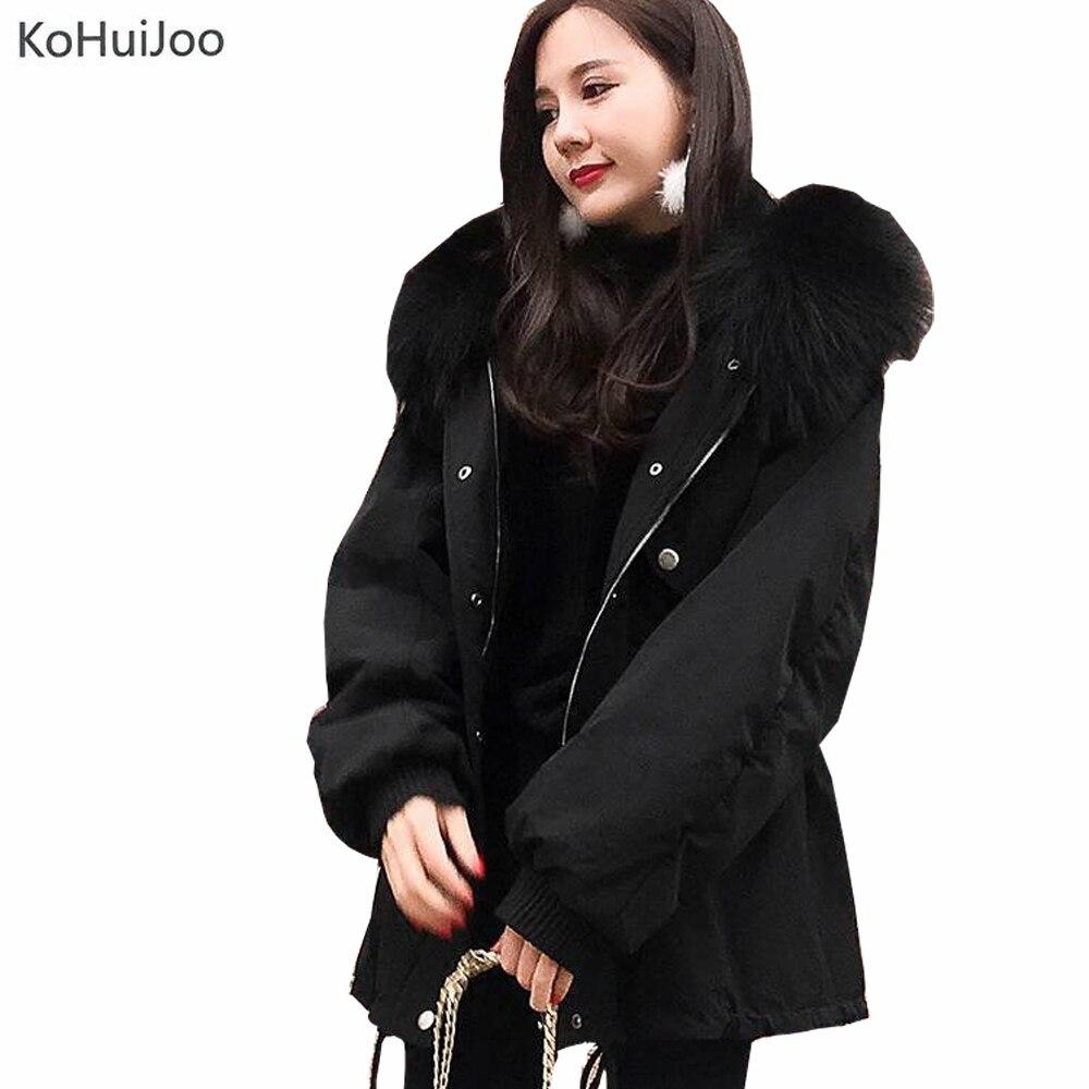KoHuiJoo Veste D'hiver pour Femmes décontracté Lâche grande taille Mince Col En Fausse Fourrure Vestes Neige Épaisse Parkas Longues Feminina Noir