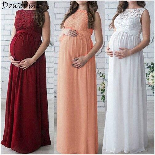 5fccf99685 Comprar Maternidad 2018 embarazo ropa mujeres embarazadas señora elegante vestidos  Encaje partido formal vestido de noche Online Baratos