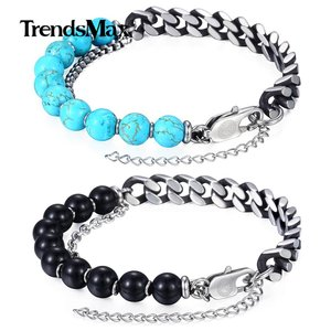 Unique Blue Natural Stone Women's Men's Beaded Bracelet Gunmetal Stainless Steel Link Chain Bracelet Hot Valentines Gifts DLBM04