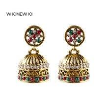 Vintage Antique Gold Indian Jhumki Jhumka Handmade Beaded Boho Earrings Bohemia Colorful Acrylic Stones Bridal Party Ear Jewelry