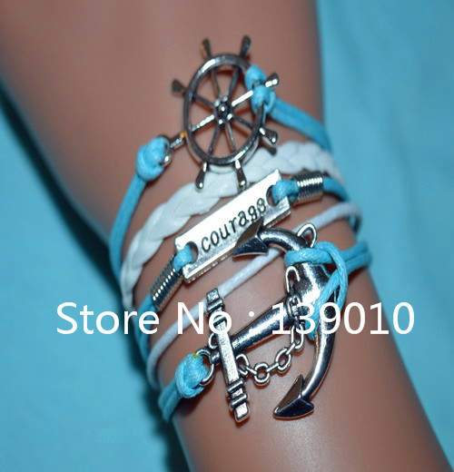 Hot Bijouterie Leather Rope Charm Cuff Bangles Silver Color Alloy Letter Courage Rudder Anchor Bracelets