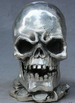 decoration Tibet copper silver   Chinese Silver Art Skull Head Human Bust Skeletons Death's Head Statue Figurine