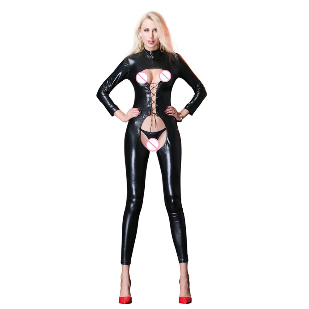 New light Hollow out Tighten Long sleeves Frenulum perform open bra body sexy lingerie porno latex catsuit bodystocking lenceria in Teddies Bodysuits from Novelty Special Use