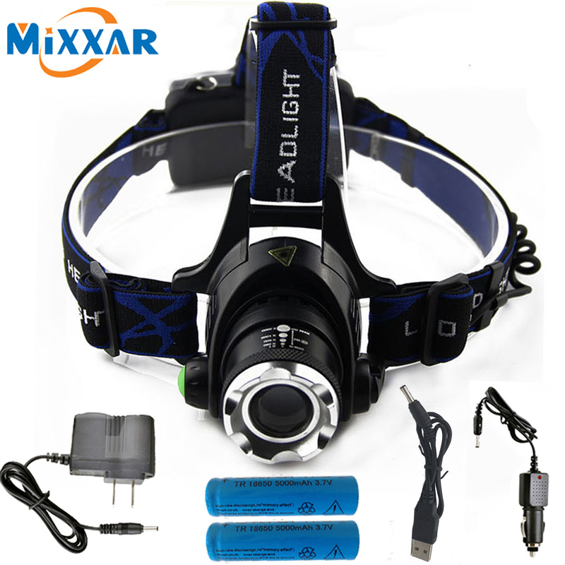 NZK20 Powerful CREE XML T6 headlights headlamp Zoom waterproof 18650 rechargeable battery Led Head Lamp Camping