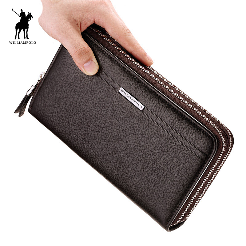 premium selection a950c 5ad0f US $51.42 40% OFF|WilliamPOLO Leather Vintage Solid Clutch Bag Phone Cases  Brand Mens Wallet Double Zipper Genuine Leather Bag PL163-in Wallets from  ...