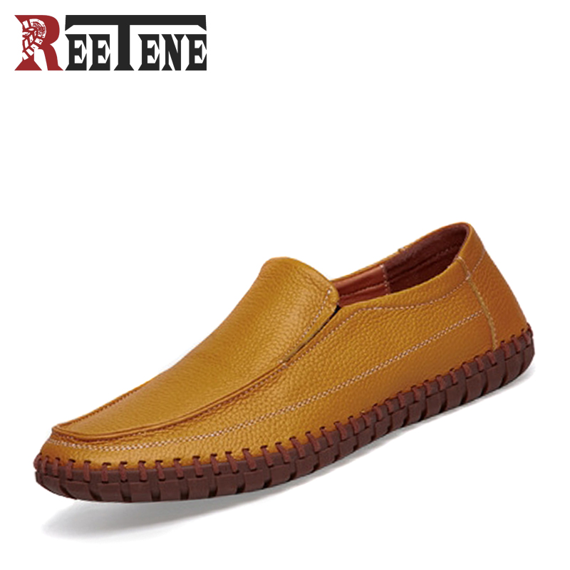 Genuine Leather Cowhide Men's Casual Shoes Slip-On Business Male Loafers Breathable Handmade Moccasins Plus Size New Men Flats high end breathable men casual shoes loafers genuine leather lace up rubber handmade slip on sewing lazy shoes italian designer