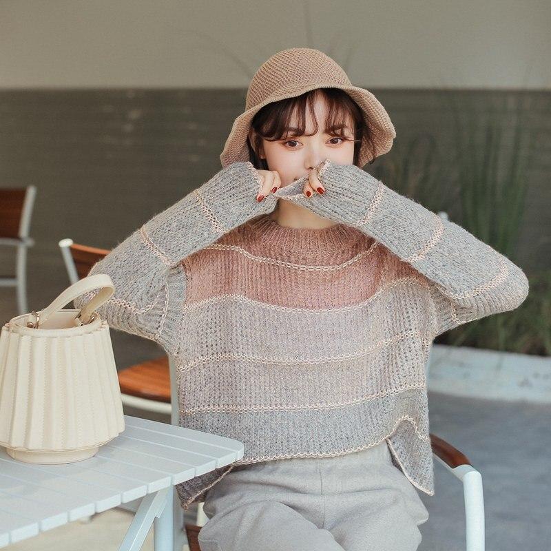 Women's Casual Sweaters Japanese Kawaii Ulzzang Autumn Contrast Striped Sweater Female Korean Kawaii Cute Clothing For Women
