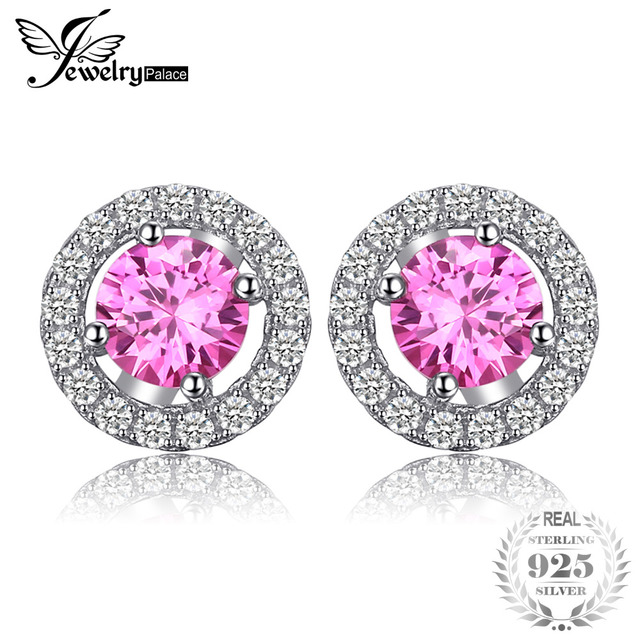 JewelryPalace Round 1.4ct Created Pink Sapphire Real 925 Sterling Silver Stud Ea