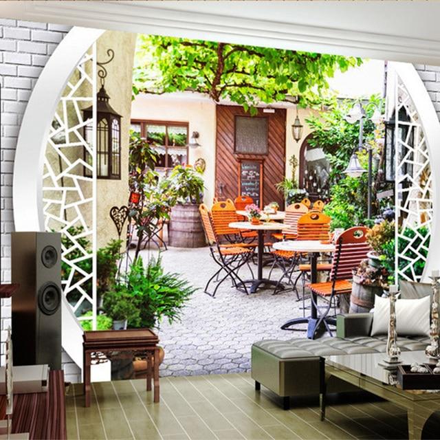 Foto Behang Moderne Leisure Tuin Thee Restaurant 3D ...