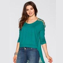 Ellaceyผู้หญิงท็อปส์และเสื้อ2016ใหม่แฟชั่นฮอลโลว์ออกเสื้อชีฟองปิดไหล่ผู้หญิงเสื้อB Lusa Femininaพลัสขนาด