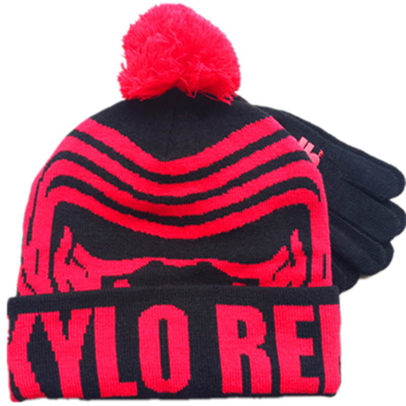 2017 New Autumn Winter Women Men Lady Hat Mittens Set Cartoon Wars Kylo Ren Ben Solo Beanie Gloves Warm Cap Knitted Children Hat