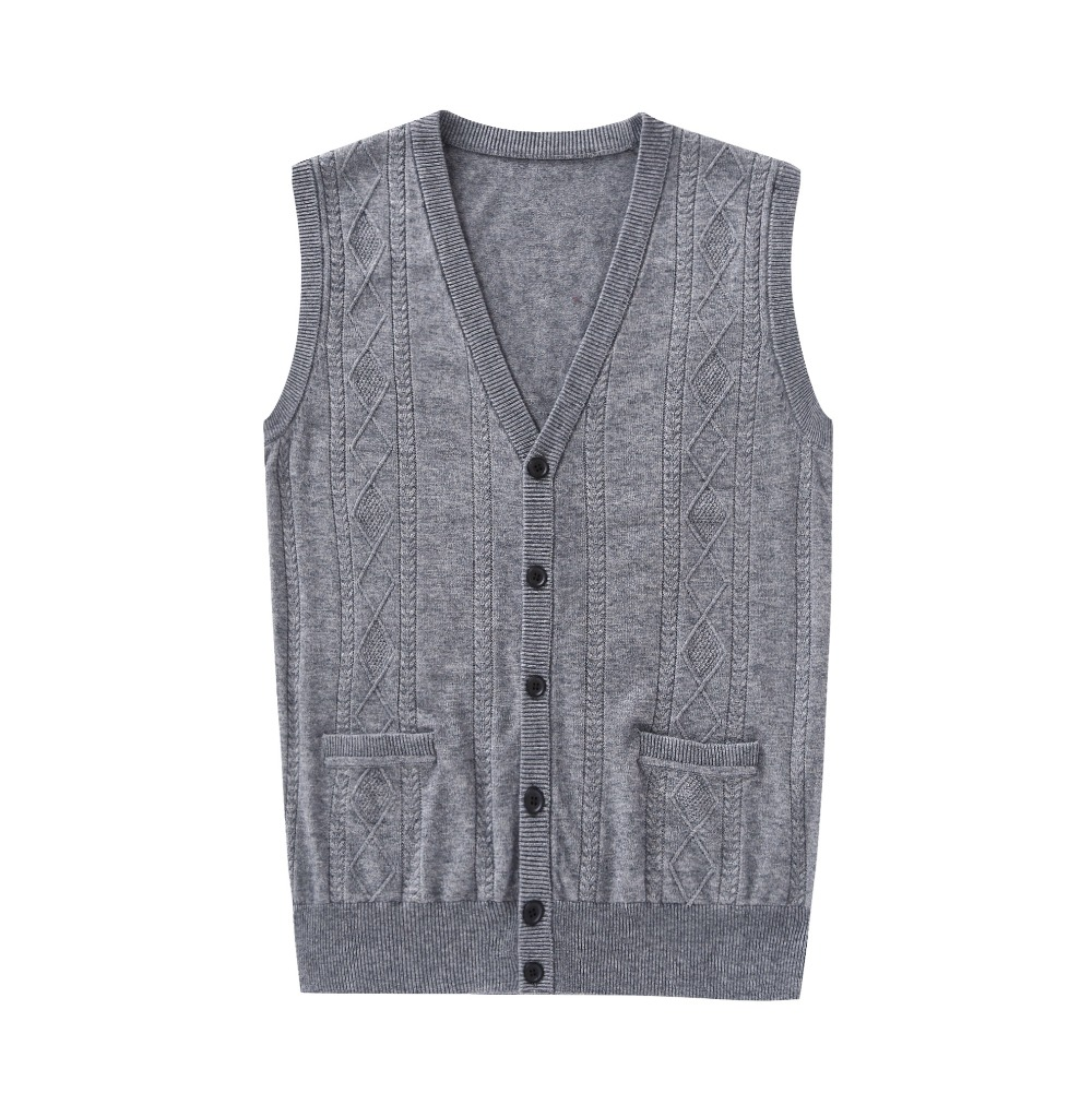 New autumn mens fashion argyle wool sweater cardigan vest plain v ...