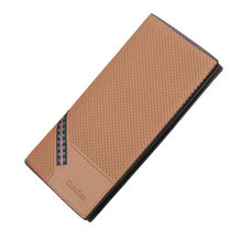 wallet men leather genuine Fashion Solid Color Open Multi Card Position wallet men coin(China)