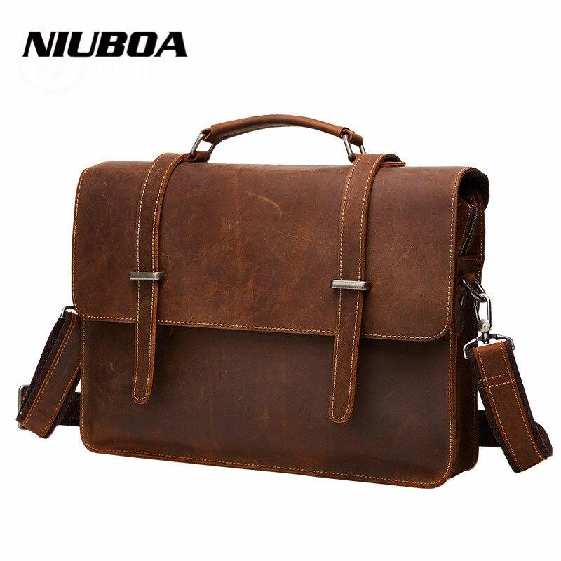NIUBOA New Genuine Leather Bag Men Vintage Men s Crossbody Messenger Bag High Quality Natural Shoulder