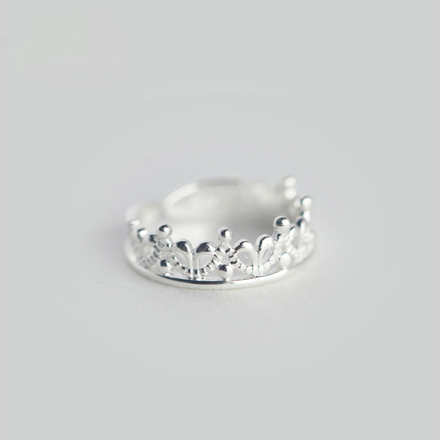 100% 925 Sterling Silver Princess Crown Cocktail Ring Sizable 5 6 7 2
