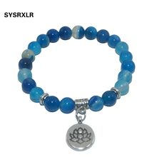 Natural Stone Lotus Buddha Beads Amethysts Agates Lapis lazuli Tiger Eye Turquoises Bracelet For Women Men Yoga bracelet Femme(China)