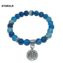 Natural Stone Lotus Buddha Beads Amethysts Agates Lapis lazuli Tiger Eye Turquoises Bracelet For Women Men Yoga bracelet Femme