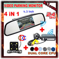 """2.4GHz Wireless Video Monitor Parking Assistance System (4.3"""" Car Monitor + Rear view camera + parking Sensor + Wireless Kit )"""