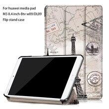 """Folio PU funda de piel Para Huawei MediaPad M3 BTV-W09/DL09 8.4 """"M3 caso de cuero Para Huawei MediaPad Tablet colorido de impresión"""