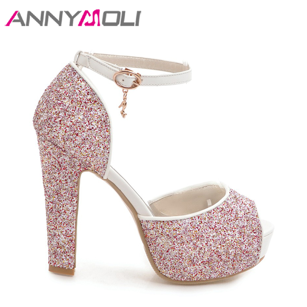 165d5be6d9dde ANNYMOLI Women Sandals Platform High Heels Peep Toe Buckle Ladies Summer Shoes  Ankle Strap Glitter Bridal Shoes 2018 Size 33 43-in High Heels from Shoes  on ...