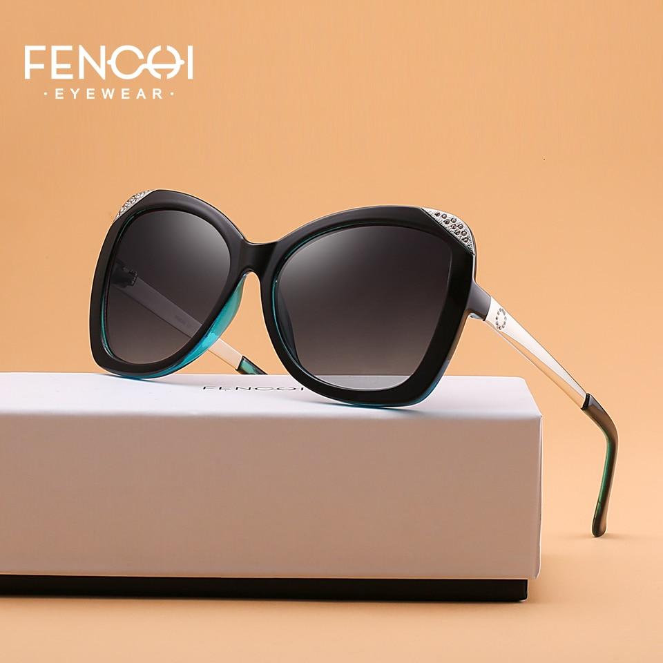 FENCHI Sunglasses Women Metal Diamonds Glasses Driving Mirror Fashion Design New Cat Eye High Quality