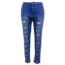 Женщины Сексуальные большие отверстия рваные джинсы кистями тощий высокой талией брюки карандаш женские брюки