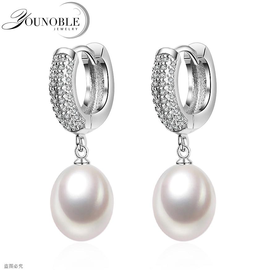 все цены на Real freshwater pearl earrings for women,925 silver earrings fine jewelry girls natural pearls trendy wedding earrings white онлайн