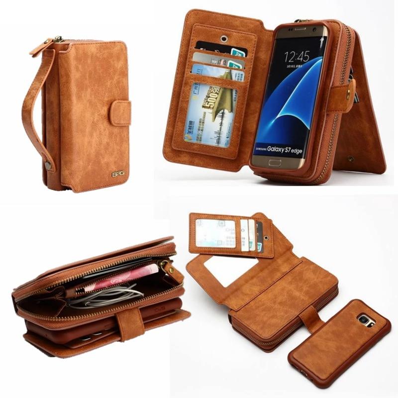 Цена за Ретро съемный молнии кошелек кожаный бумажник чехол для Samsung Galaxy S7 S7 край