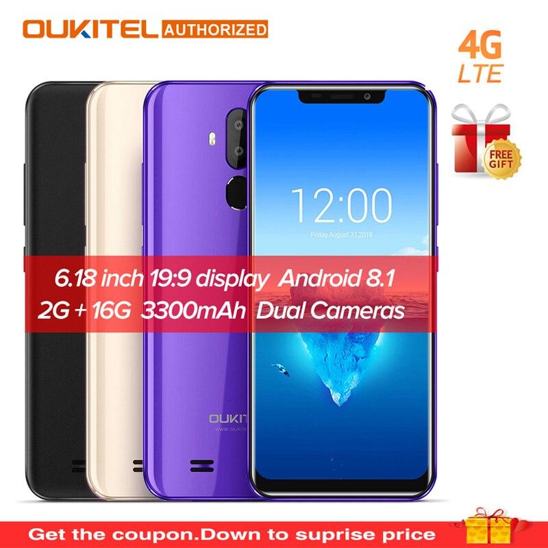 D'origine OUKITEL C12 Pro 6.18 19:9 Android 8.1 Mobile Téléphone Quad Core 2g RAM 16g ROM D'empreintes Digitales visage ID 4g 3300 mah Smartphone