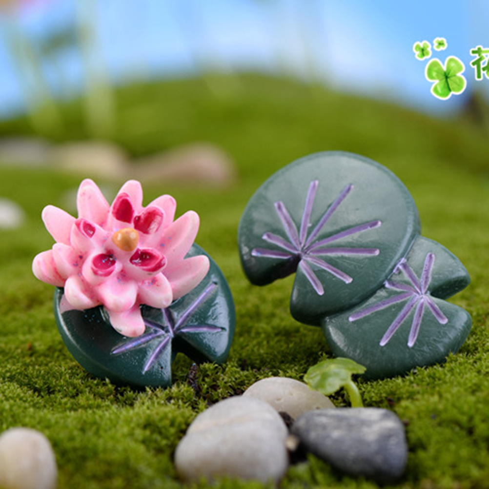 Lotus Flower Leaf Beautiful Miniature Fairy Garden Home Houses Decoration  Mini Craft Micro Landscaping Decor DIY
