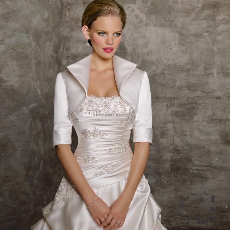 Half Sleeve Satin Wedding Jacket Lady Bridal Bolero Women Shrug Coat Wrap