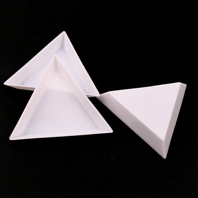10Pcs Acrylic Triangle Plate  DIY Storage Packing Box Plastic   62*62mm  Nail Art Rhinestone Tray Tool