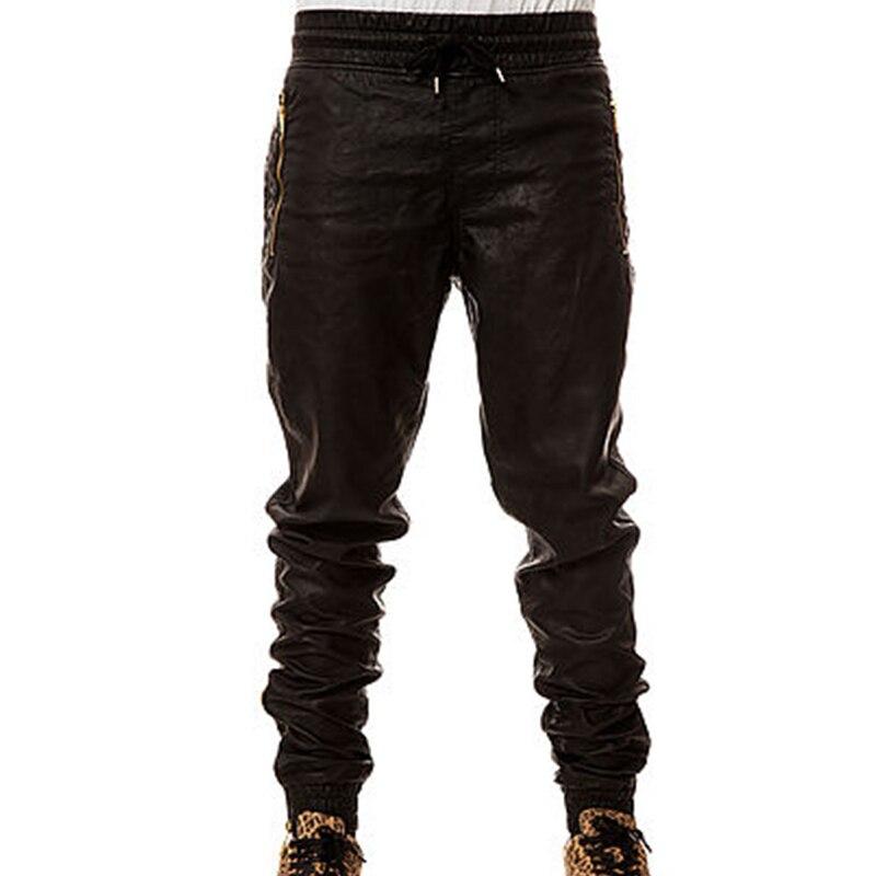De Cordón Joggers Del Cremallera Bolsillos Cintura Hop La Alemetres Faux Pierna Cuero Hombres Black 2018 Con Nuevo Abertura Hip Y Mens Pu Pantalones xgHp0qHTR