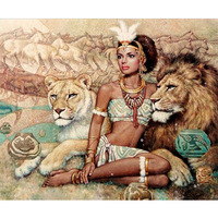 DIY Diamond Painting Wall Sticker Beauty And Lion Cross Stitch Embroidery Painting3D 5D Sticker 40x50cm Home