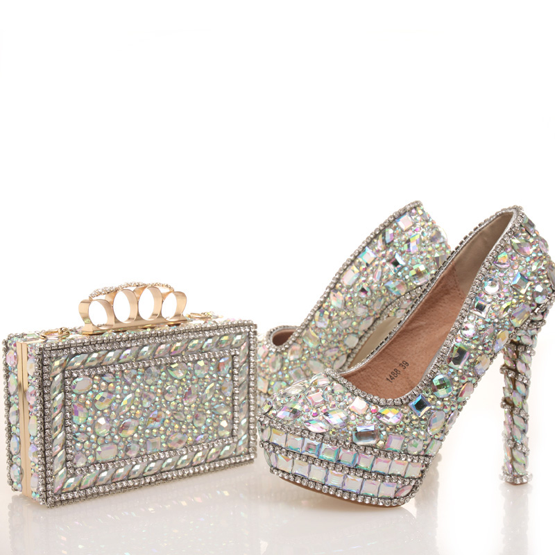 2017 New designer AB Crystal Wedding Shoes with Matching Bag Beautiful Bridal Dress Shoes Prom Party High Heels with Clutch doershow african shoes and bags fashion italian matching shoes and bag set nigerian high heels for wedding dress puw1 19