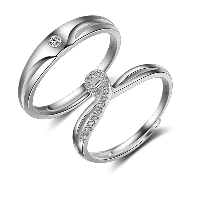danki wedding party couple ring sets for bride and groom solid 925 sterling silver jewelry infinity - Wedding Ring Sets For Bride And Groom
